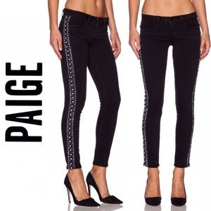 Paige Embellished Tux Jeans with Beads